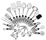 Chef essential 23-Pc Stainless Steel Kitchen Utensil Set, Best Christmas Gift Ever, Everything You Need For Cooking Included, Heat Resistant up to 450 Degrees, Measuring Spoons included, Easy to Clean