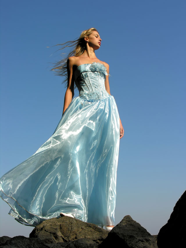 blue organza dress